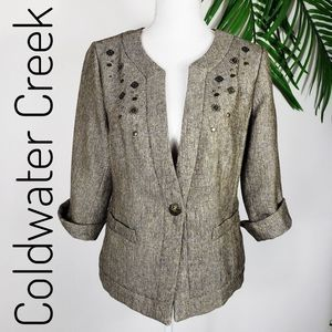 Coldwater Creek Tweed Shimmer Jacket Embellished